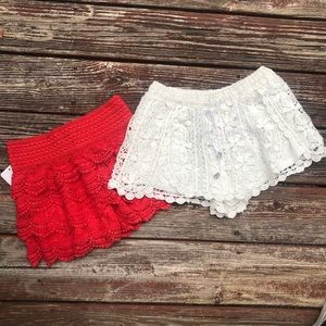 Pants - Set of 2 Embroidered Shorts